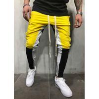 Calça Masculina Swag Unique Colors - Preto E Amarelo