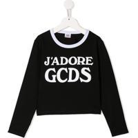 Gcds Kids Blusa Com Slogan - Preto