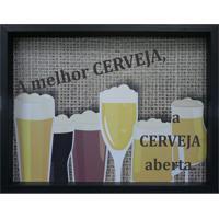 """Quadro Porta Tampinhas """"A Melhor Cerveja""""- Preto & Amarekapos"""