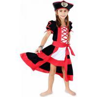 Fantasia Infantil Lé Com Cré Pirata - Feminino-Preto+Vermelho