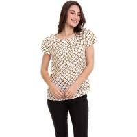Blusa Estampada Com Pregas Feminino - Feminino-Branco