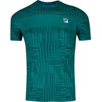 Camiseta Fila Aztec Box Geo - Masculina - Verde Escuro
