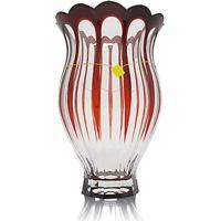 Vaso Overlay Lapidação Imperador 32 Cm Vermelha Strauss
