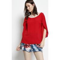 Blusa Texturizada Com Vazado - Vermelhamoiselle