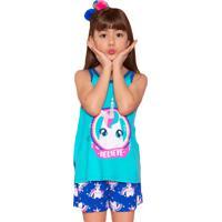 Pijama Regata E Shorts Puket Visco Unicórnio Believe Azul