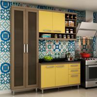 Cozinha Compacta New Vitoria I 6 Pt 3 Gv Avelã Com Maracujá