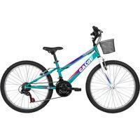 Bicicleta Lazer Caloi Florença Aro 24 - Com Cesto Freio V-Brake 21 Velocidades - Verde