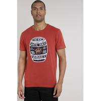 "Camiseta Masculina ""Whiskey"" Manga Curta Gola Careca Cobre"