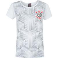 Camiseta Do Corinthians Cubos 18 - Feminina - Branco