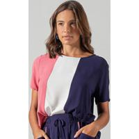 Blusa Feminina Tricolor Azul