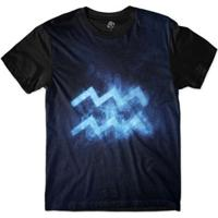 Camiseta Bsc Signos Galáxia Aquário Sublimada Masculina - Masculino-Azul
