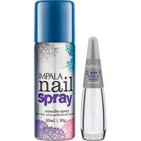 Esmalte Spray Impala Nail Spray Cor Azul Com 50Ml + Base 2 Em 1 Com 7,5Ml