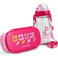 Conjunto Pote Para Lanche E Squeeze Infantil Menina Flor Pink Jacki Design Pink - Kanui