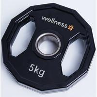 Anilha Poliuretano Wellness - Furação Olímpica - 12 Faces Com Pegadas - 5,00Kg - Unissex