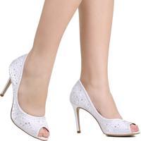 Sapato Peep Toe Zariff Noivas Sato Fino Branco