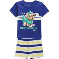 "Pijama ""I'M A Pugsaurus Rex""- Azul Escuro & Amarelo-Brandili"