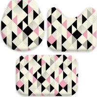 Jogo Tapetes Love Decor Para Banheiro Multi Triângulos Rosa Único