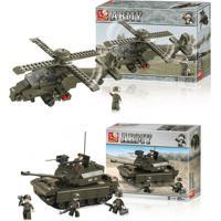 Combo Kids - Blocos De Montar Land Force Modelo Helicóptero 199 Peças E Blocos De Montar Land Force Tanque De Guerra 312 Peças - Br906K Br906K