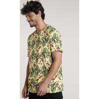 Camiseta Masculina Estampada Floral Manga Curta Gola Careca Amarela