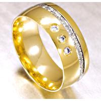 Aliança De Ouro Casamento 2 Frisos E Diamante- As0524 + As0525 Casa Das Alianças