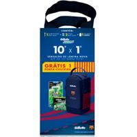 Kit Gillette Aparelho De Barbear Mach 3 Sensitive + Carga - 2 Unidades + Porta Chuteira