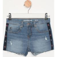 Short Jeans Com Puídos E Viés- Azulcalvin Klein