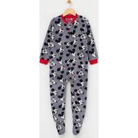 Pijama Infantil Macacão Estampado Mickey - Tam 1 A 4