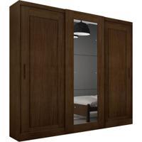 Guarda-Roupa Casal Com Espelho Coronata 3Pt 6Gv Café