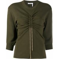 Chloé Blusa De Tricô E Lã Com Detalhe De Cordão De Ajuste - Verde