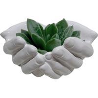 Cachepot Urban Home De Cerâmica Branco Hands Opened 40400 N