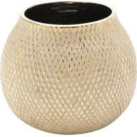 Vaso Decorativo Texturizado- Bege & Dourado- 16Xã˜19Crojemac