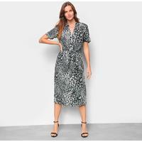 Vestido The Style Box Chemise Onça - Feminino-Cinza+Preto