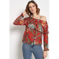 Blusa Assimã©Trica Com Vazado - Vermelha & Off White Sommer
