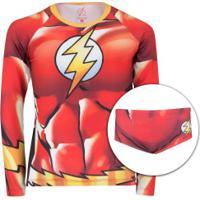 Conjunto Camiseta Manga Longa Com Proteção Solar Uv E Sunga Liga Da Justiça Flash - Infantil - Vermelho/Amarelo