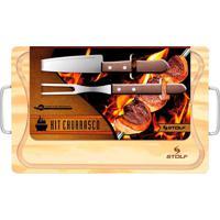 Tabua De Corte Carne Churrasco Stolf Alças Com Faca E Garfo 35 X 21Cm