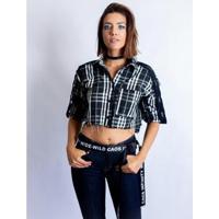 Camisa Caos Cropped Nylon Xadrez Feminina - Feminino-Preto