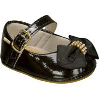 Sapato Boneca Envernizado Com Laã§O- Pretogriff