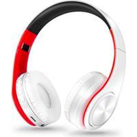 Fone De Ouvido Bluetooth Dobrável - Branco E Vermelho