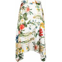 Madison.Maison Laura Floral-Print Silk Skirt - Branco