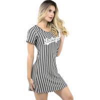 Vestido Camisa Longline Bravaa Modas Los Angeles Camisão 284 Cinza Escuro