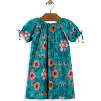 Vestido Floral- Verde Escuro & Rosa- Up Baby & Up Kiup Baby - Up Kids