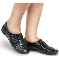Sapato Oxford Q&A Verniz Com Saltinho Feminino - Feminino-Preto