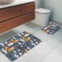Jogo Tapetes Para Banheiro 2 Peças Lhamas Único