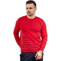 Blusa De Malha Gola Redonda Sumaré Masculina - Masculino-Vermelho