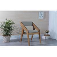 Poltrona Decorativa Para Sala Estofada Quadratto Cor Cinza Claro - Verniz Amendoa \ Tec.915 - 55X49X78 Cm