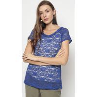 Blusa Em Renda- Azul & Branca- Mirasulmirasul