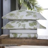 Jogo De Cama Tropical Folhagens Queen Size- Branco & Versultan