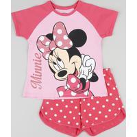 Pijama Infantil Minnie Raglan Manga Curta Rosa