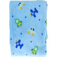 Manta De Microfibra Confort Baby Hazime Avião Azul