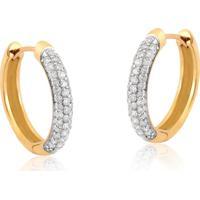 Brinco De Ouro 18K De Argola Com Diamantes